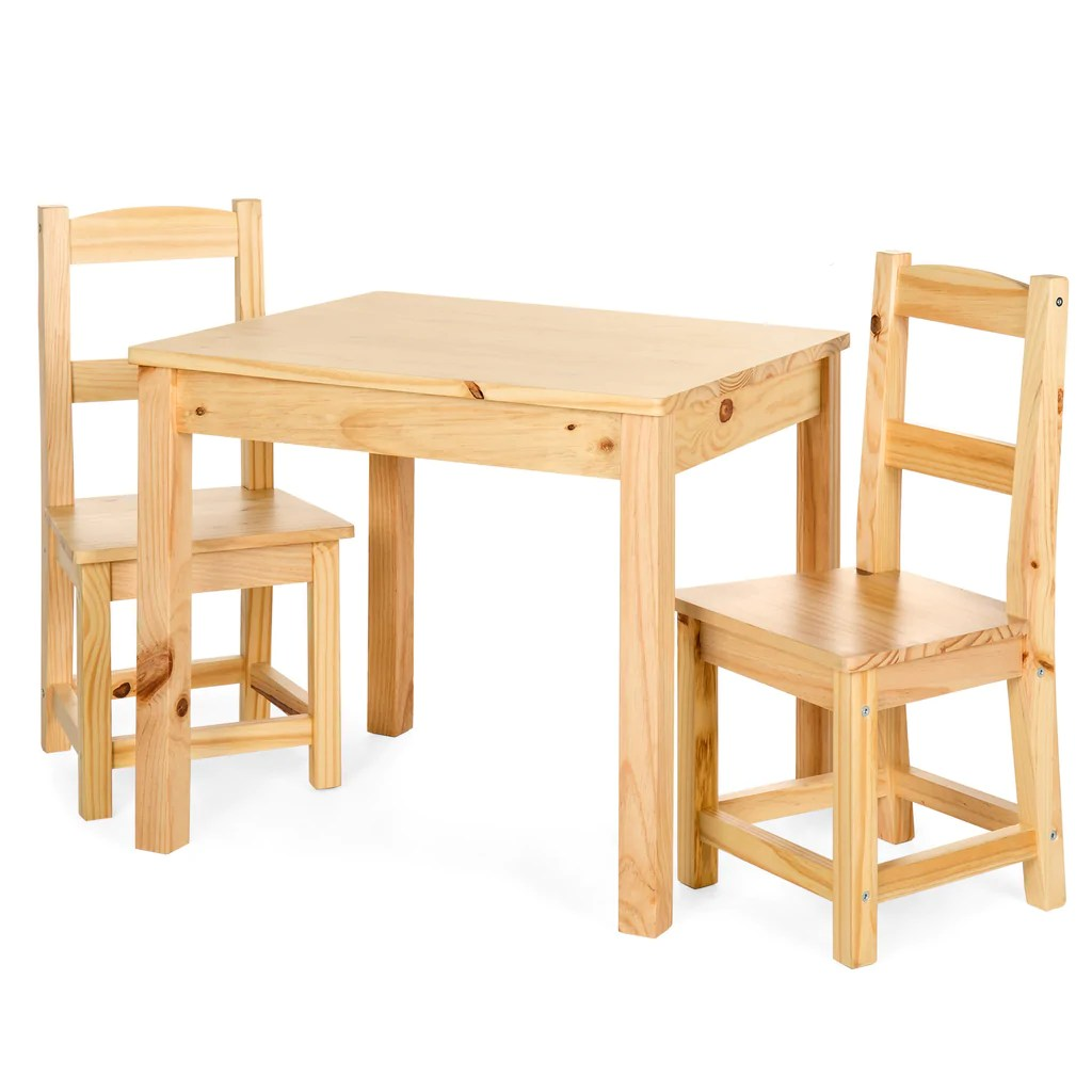 Kids Wood Table And Chairs 3 Piece Kids Wooden Activity Table Furniture Set W 2 Chairs Natural